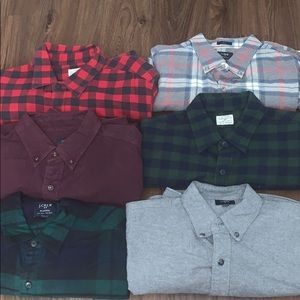 LOT of 6- J. Crew Flannel Button Down Shirts